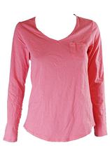 Charter Club Women's V-Neck Long Sleeve Shirt, Strawberry Pink, Size M - $9.89