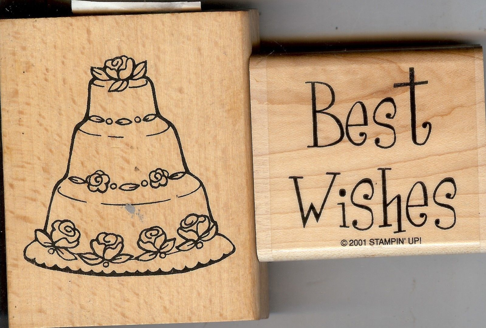 Lot of 2 Rubber Stamps D-001 & E-096 Best Wishes & Cake S42 - $6.89
