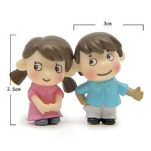Miniature Girl Boy Pair Lover Mini Figurines Craft Micro Landscaping Dec... - $5.20