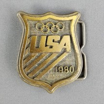 United States Olympic Committee 1980 USA Brass Tone Belt Buckle Vintage ... - $9.85