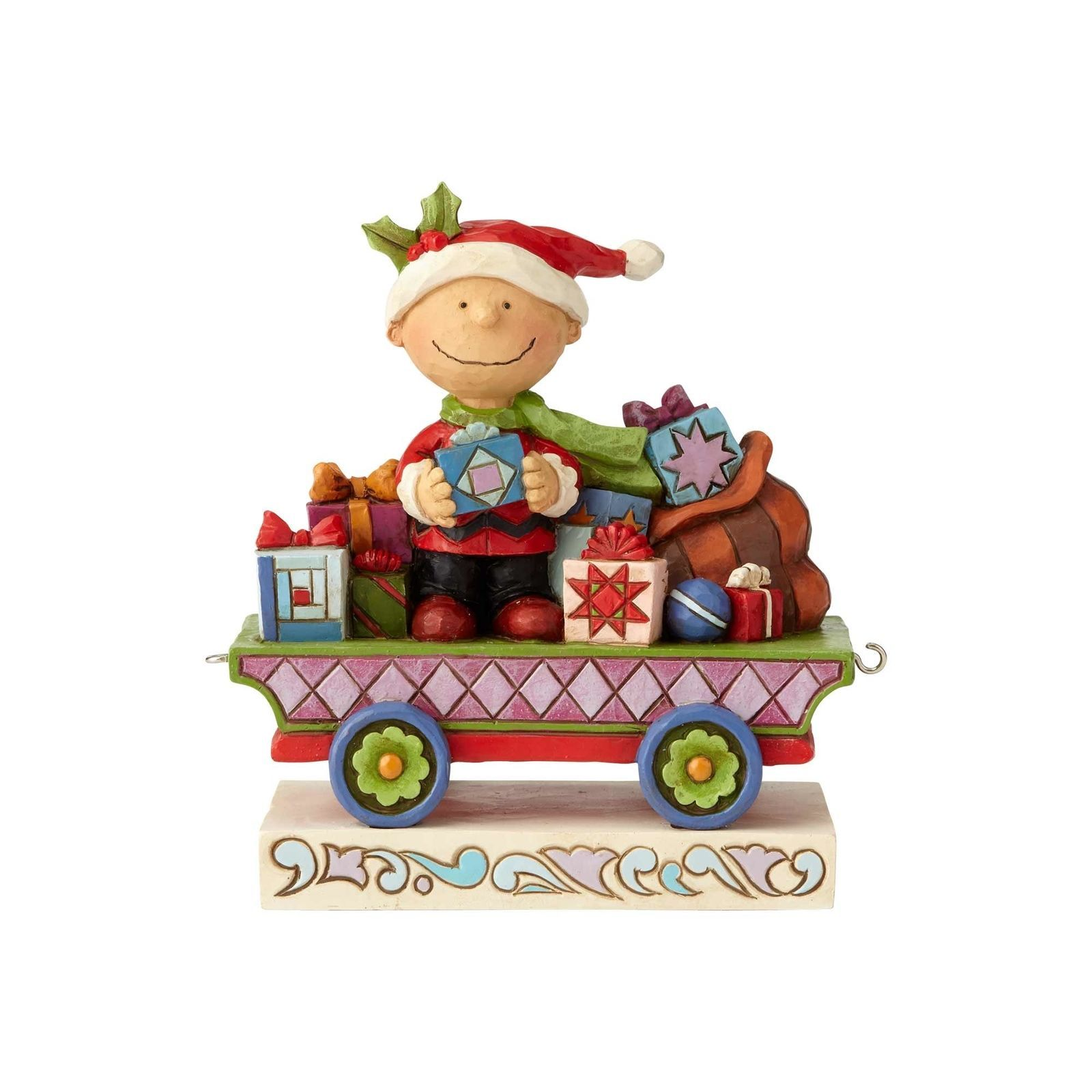 Jim Shore Peanuts Charlie Brown Christmas Train Resin Figurine New With Box