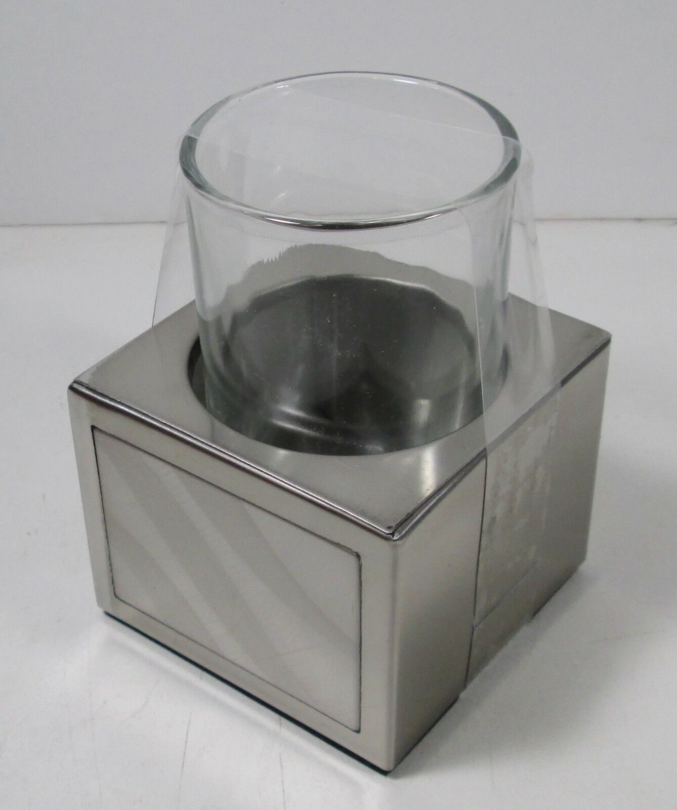 Primary image for Moire Stainless Steel Tumbler Holder with Glass (3.5 x 3 x 4.4)  CHF New