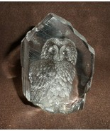 Etched crystal Owl paper weight by Mats Jonassen Maleras Sweden - $25.00