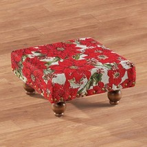 Holiday Studded Poinsettias Tapestry Footstool Christmas Plant Foot Stoo... - $21.88
