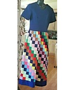 Authentic Vintage Homemade Long Dress in Quilt Square Patterns Bold Colo... - $39.19