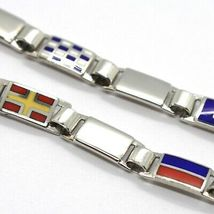 Armband Silber 925, Flags Offz. Blaue Paspel Emaille Alternate, Lang 18 cm, 5 MM image 3