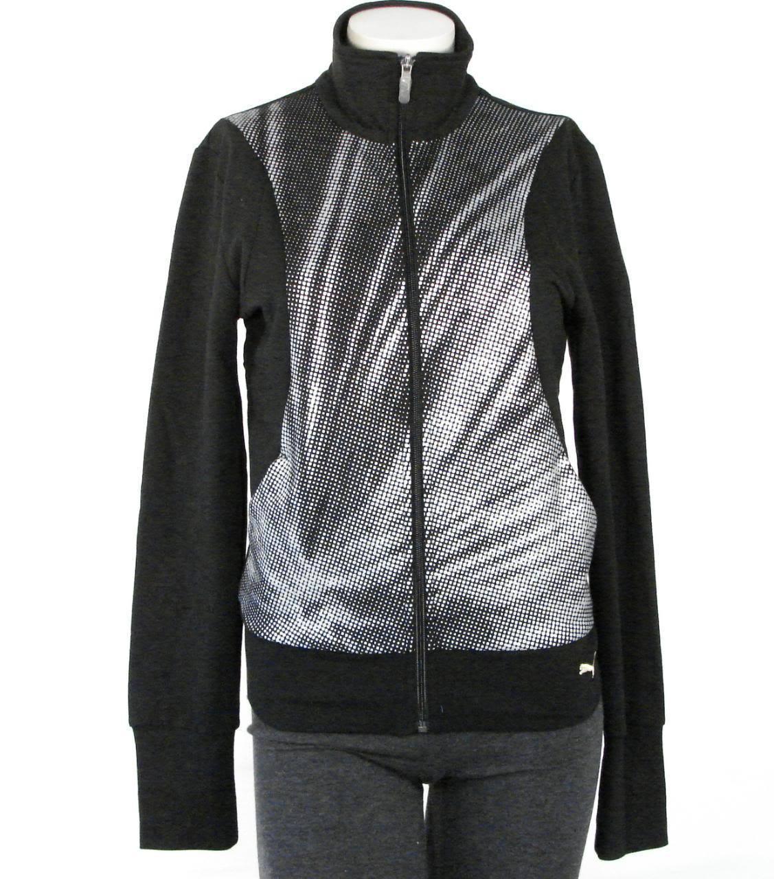 Puma Black & Silver Stretch Sweat Track Jacket Womans NWT - $44.99