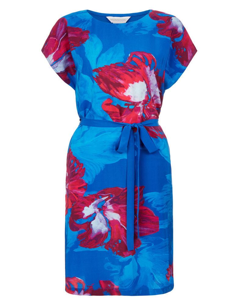 MONSOON Pippa Silk Front Printed Dress BNWT