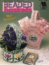 Plastic Canvas Victorian Heart Spring Tulip Beaded Gift Baskets Pattern  - $12.99