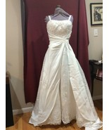 White wedding dress Polysatin w/chiffon insert.  Pearl and sequin embroi... - $250.00