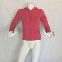 Ralph Lauren Collection Sweater Cardigan Hooded Cotton Pink Salmon Women... - $44.99