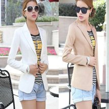 Single Front Button Blazer Coat For Women - $25.00