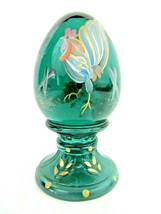 Fenton Forest Green Egg Rooster Decoration 5145 7Y B. Fluharty Artist - $38.61