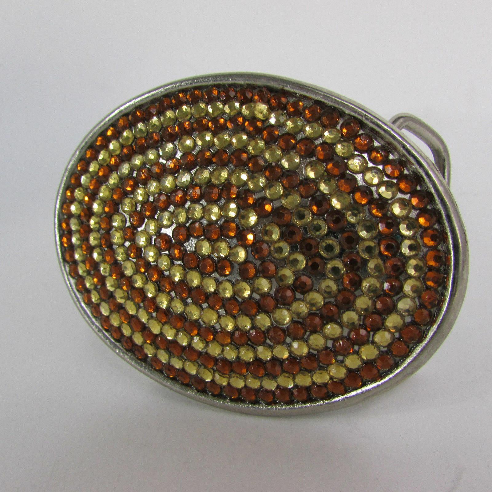 Mode Cowgirl Herren Damen Oval Gürtelschnalle Western Silber Metall Braun Strass