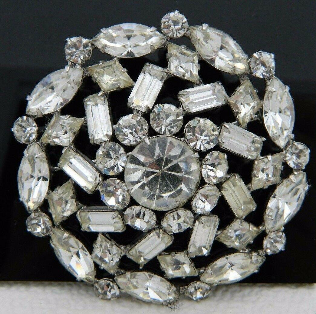 VTG Large Silver Tone Clear Rhinestone Flower Wedding Bridal Pin Brooch