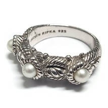 Judith Ripka .925 Silver 3 Pearl Cable Band Ring Size 6 - $190.00