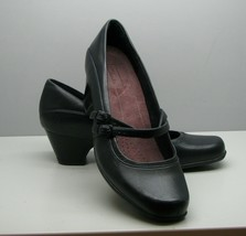 Clarks Everyday SHOES Woman's 9 M Pumps Black Leather Dressy Double Strap - $18.80