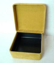 Jewelry box tan velvet travel size keepsake trinkets vintage - $8.47