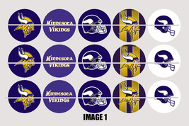Printed Precut MINNESOTA VIKINGS inspired 1 inch images for bottlecaps, ... - $2.00