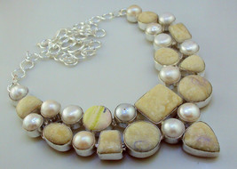 Jasper + Pearl Silver Overlay Necklace Us-2A -14/97 - $23.53