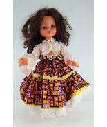"FURGA 17"" Brown Hair Open Mouth Sleepy Eyes Vinyl Girl Doll Print Skirt - $14.85"