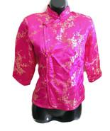 girls asian chinese china hot pink gold satin brocade oriental shirt siz... - $9.99