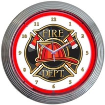 "Fire Department Neon Clock 15""x15"" - $62.00"