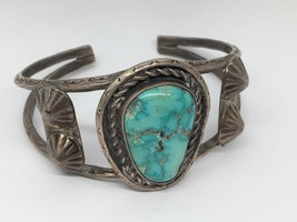 VINTAGE NATIVE AMERICAN STERLING SILVER TURQUOISE CUFF BRACELET HAND STA... - $210.38