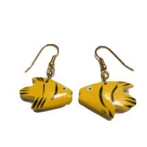 Yellow Dangle Wood Carved Angel Fish Pierced Hook Earrings J6957 - $7.59