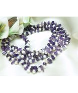 Amethyst Gemstone Nugget White Freshwater Pearl Long Necklace 41 Inch - $35.00