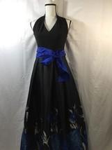 eliza j Women Prom Evening Gown  Black Blue Floral Maxi Dress V-neck  4 - $231.88
