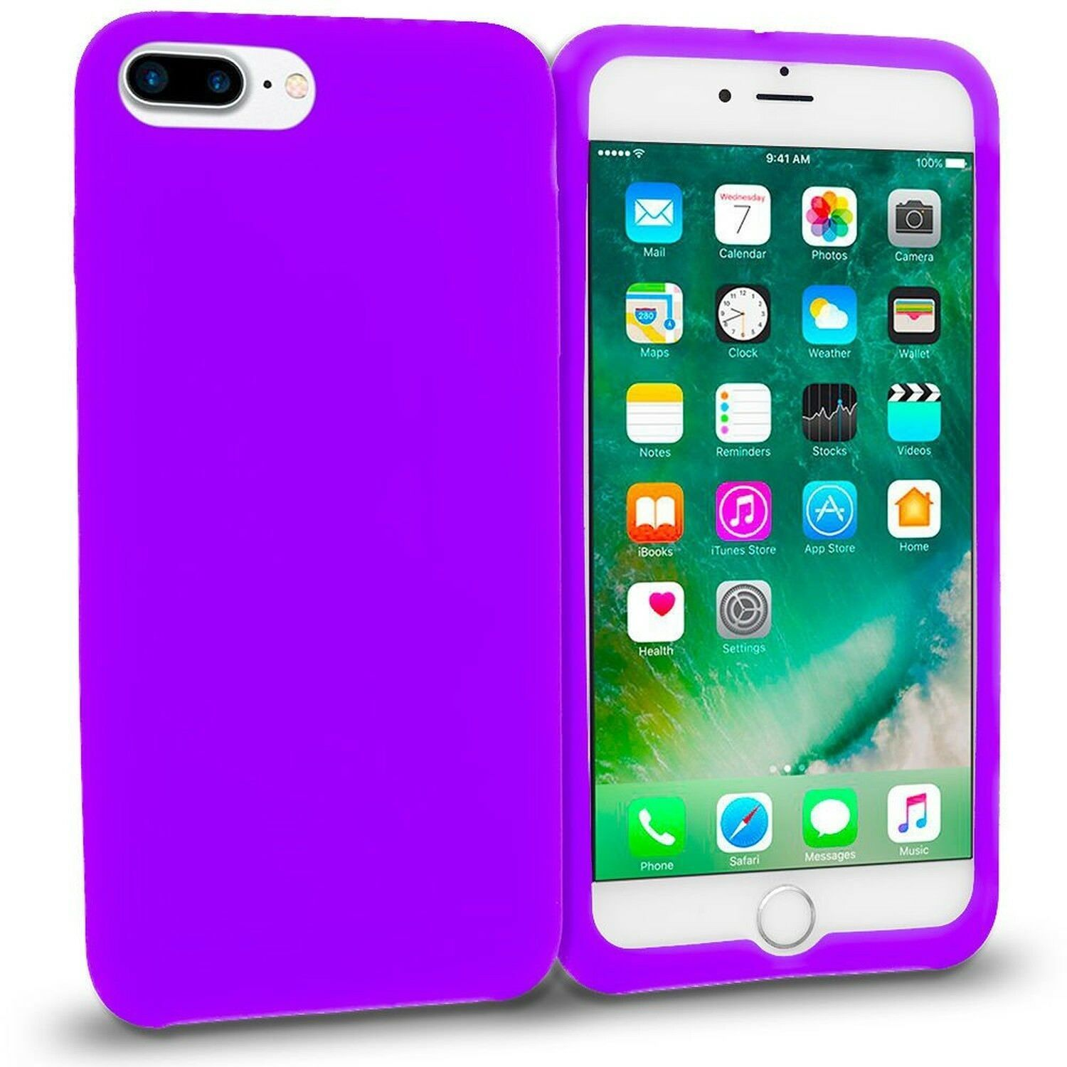 Purple Soft Silicone Rubber Case Flexible Skin Jelly Cover for iPhone 7 Plus image 3