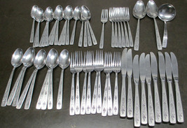 International Stainless Flatware Spanish Rose Service for 7, 54 total Pieces - $164.23