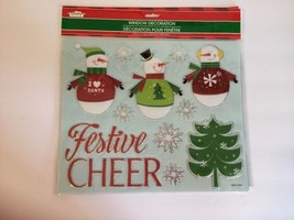 New Christmas House Window Decor 9.75 x 11.5 Snowman Festive Cheer - $5.22