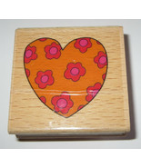 """Heart Flowers Rubber Stamp Love Romance Wood Mounted 2"""" Square Floral He... - $3.19"""
