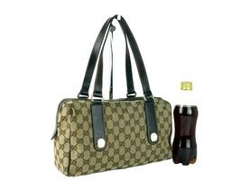 Authentic GUCCI GG Beige Brown Canvas Leather Tote Shoulder Bag Handbag ... - $375.21