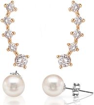 FREE Pearl Earrings With 14K Gold Plated Sterling Silver Post Crawler Ea... - $22.00