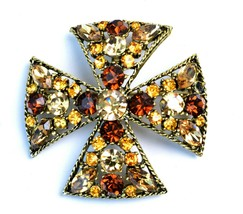 Vintage 1950's Mid Century Maltese Cross Jeweled Amber Crystal Brooch Pin  - $33.66