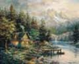Lakeside Cottage Boehme Collectible Vintage 11X14 Matted Landscape Foil ... - $14.99