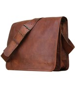 "New 15"" Rustic Leather Tanned Office Travel Brown Messenger Full Flap La... - $59.55"