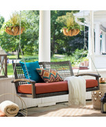 Porch Swing Patio Wicker Hanging Seat Chair Loveseat Outdoor Cushion Hom... - $293.28