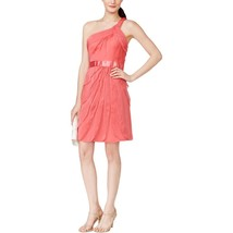 Adrianna Papell Women's Tiered One Shoulder Cocktail Dress Coral $149 Size 16M - $24.74