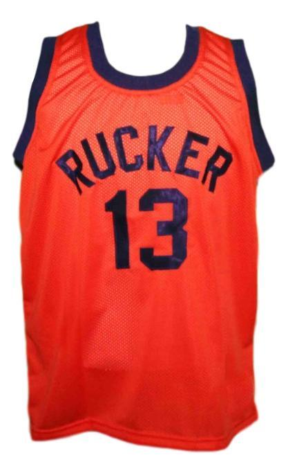 Rucker #13 retro Vintage Basketball Jersey New Sewn Orange Any Size