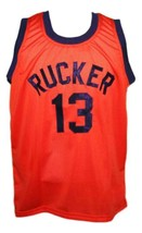 Rucker #13 retro Vintage Basketball Jersey New Sewn Orange Any Size image 1