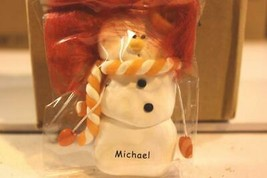 CHRISTMAS ORNAMENTS WHOLESALE- SNOWMAN- 13345- 'MICHAEL'-  (6) - NEW -W74 - $5.83