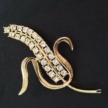 Sarah Coventry Vintage Clear Rhinestone Wheat Sheaf Goldtone Large Brooc... - $12.82