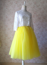 Yellow Puffy Midi Tulle Skirt Plus Size Tulle Tutu Skirt 6-layered Yellow Skirt  image 4