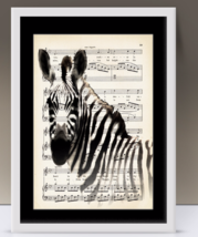 Zebra Art Print On Antique Music Page  - $10.00