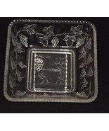 Vintage Depression Glass Square Bowl with Grapevine Pattern - $23.36
