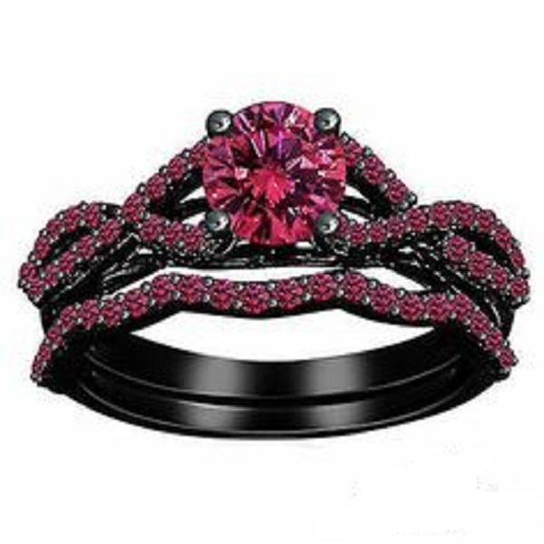 Primary image for 1.75 CT Round Cut Pink Sapphire Black Gold Plated 925 Silver Engagement Ring Set